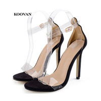 Koovan Women Sandals 2018 New Women S Shoes Transparent Film Sandals With High Heel Definition Fashion