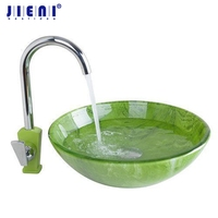 Kitchen Swivel Tap Bathroom Sink Washbasin Glass Hand Painted Lavatory Bath Combine Brass Set Tap Mixer