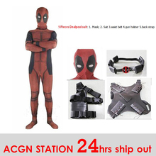 5pcs Kid Adult Deadpool Costumes Muscle costumes with Mask Superhero cosplay Ship out in 24 hours free shipping