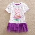 Personagens de desenhos animados menina manga curta-pacote de impressão roupas vestido tutu vestido de renda bolo hem crianças desgaste novo LU33