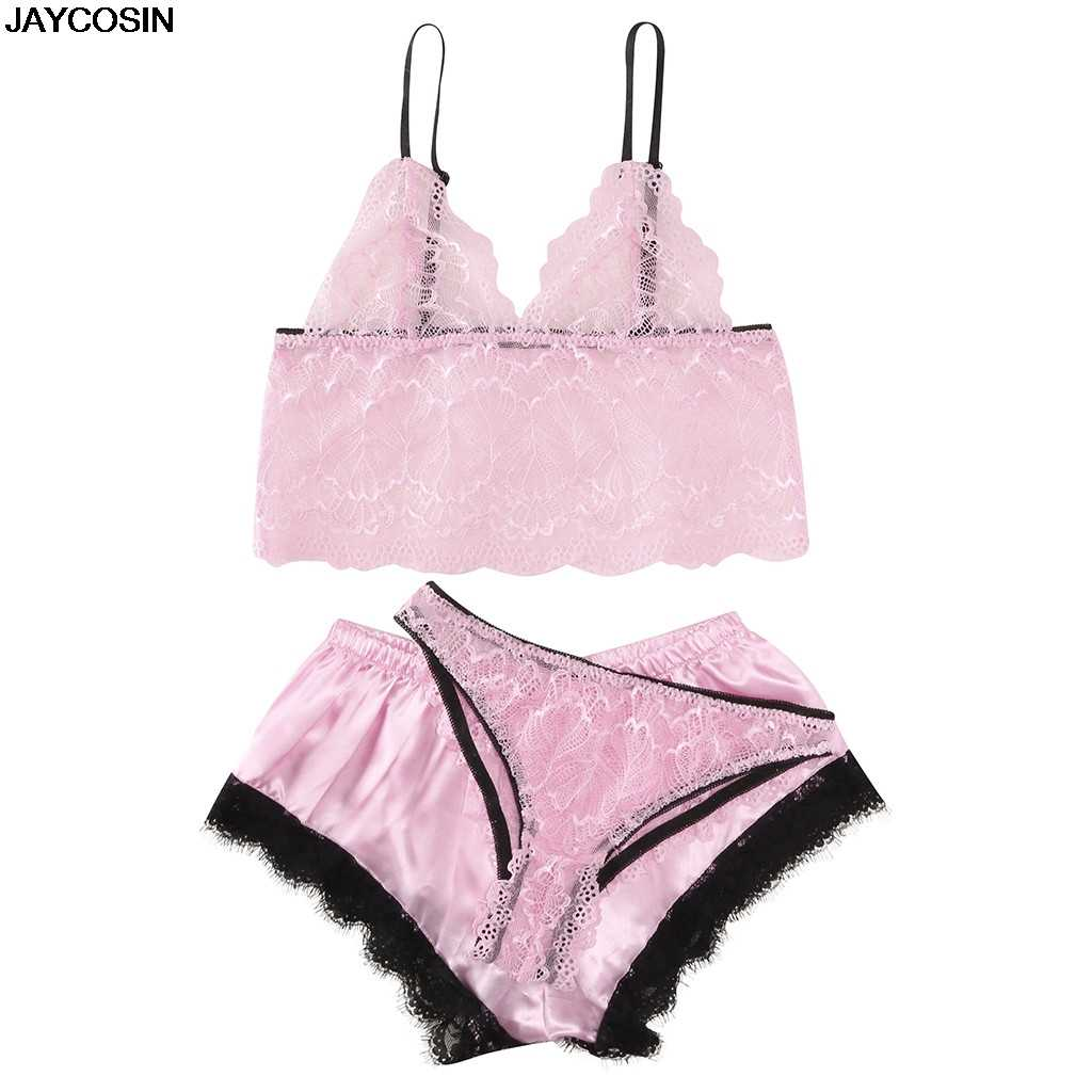 JAYCOSIN bra & brief sets Fashion New Women's Lace Hollow Openwork Sexy Perspective Three-piece Set Jumpsuit Backless Body 9527