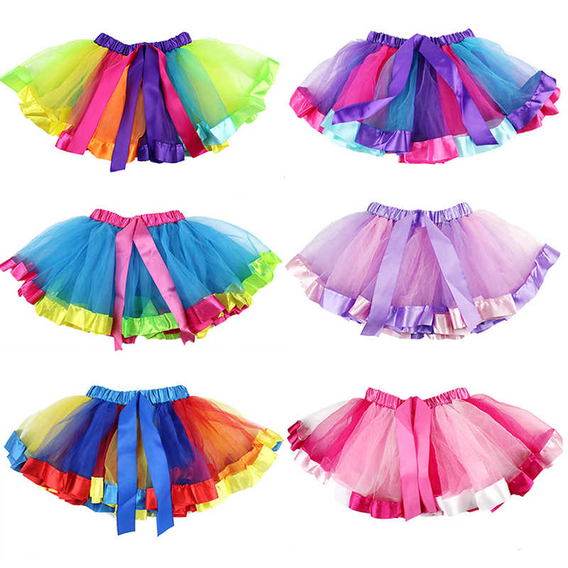 faab91410 ... Free Shipping Polyester Baby Tutu Skirt Rainbow Tulle Clothes Pink Tutu  Girl Skirts Children Baby Girl ...