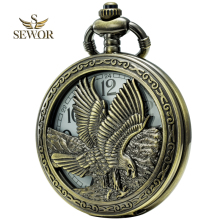 2017 SEWOR Top Brand Classical  Eagle Double Time System Mens Women Pocket Watch Bronze C201