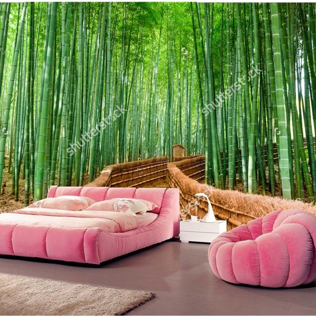 Custom Natural Scenery WallpaperBamboo Forest3D Photos For The Living Room Bedroom Restaurant