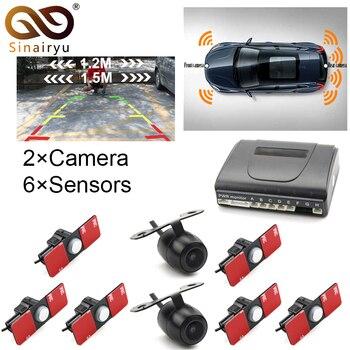 Sinairyu Car Video Parking Sensor Front Rear Reversing Radar 6 Sensors 2 Camera For TFT Monitor + 16mm Original Flat Sensors