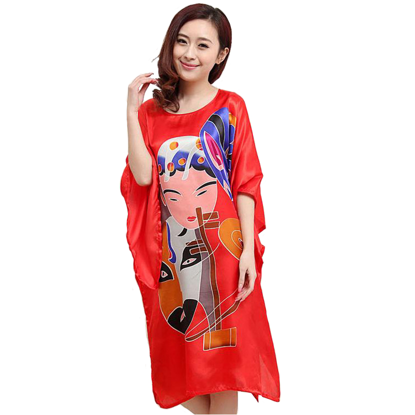 e4a8a170c3 Plus Size 6XL Red Chinese Style Women Silk Rayon Robe Summer Lounge  Sleepwear Home Dress Robe