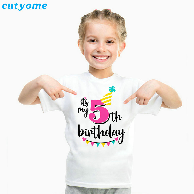 Summer Baby T Shirt Tops Children's Clothing Happy Birthday Girls Boys Short Sleeve Kids Clothes Tee Girls Boys' T-shirts Casual (30)