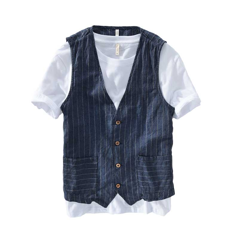 ANPOETCHY Summer Linen Slimming Men Casual Thin Vest Sleeveless Jacket Stripe