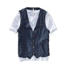 Chaleco adelgazante de lino para hombre, ropa informal fina, sin mangas, a rayas, de talla grande S 5XL, 6XL, 7XL