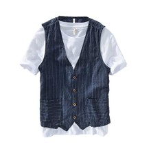 ฤดูร้อนผ้าลินิน Slimming เสื้อกั๊กผู้ชายสบายๆเสื้อกั๊กเสื้อแขนกุดลาย Waistcoat ชายเสื้อผ้า Plus ขนาด S 5XL 6XL 7XL