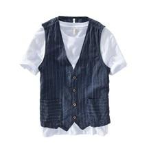 Summer Linen Slimming Vest Men Casual Thin Vest Sleeveless Jacket Stripe Waistcoat Male Clothing Plus Size S 5XL 6XL 7XL