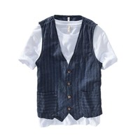 Summer Linen Slimming Vest Men Casual Thin Vest Sleeveless Jacket Stripe Waistcoat Male Clothing Plus Size S 5XL 6XL 7XL
