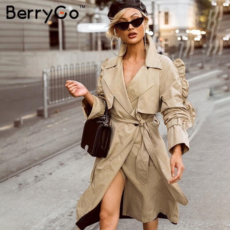 BerryGo сбоку оборками рукав тренчи женские элегантные v шеи Осень длинное пальто 2018 высокая Талия пояса хлопковая верхняя одежда; пальто