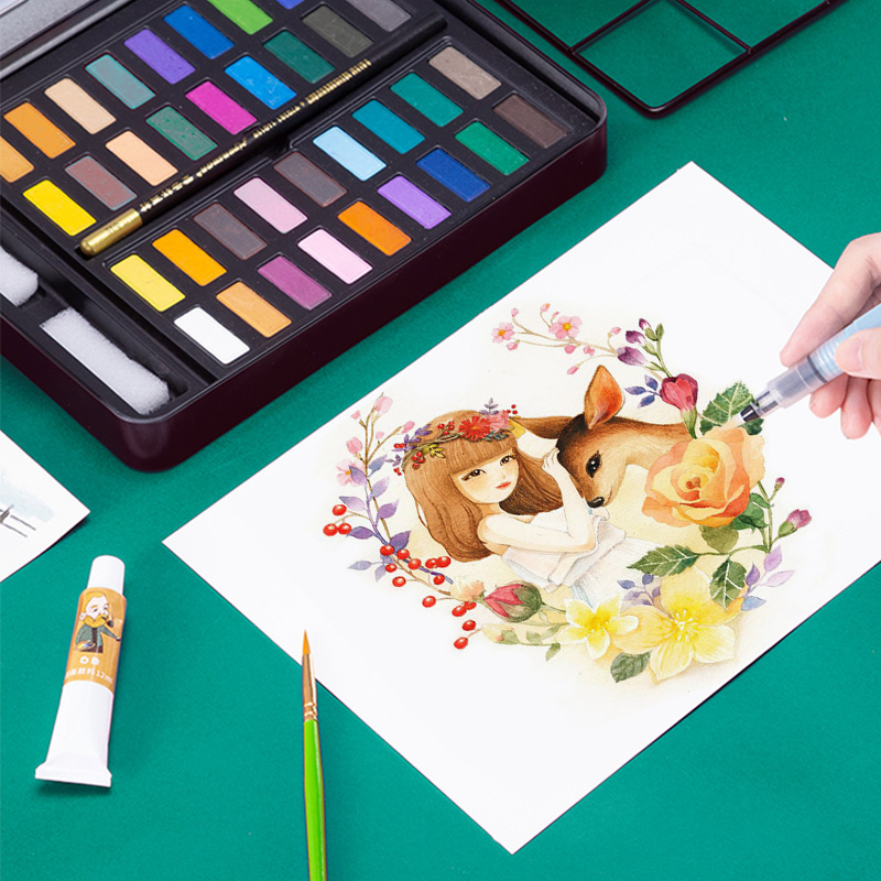36 couleurs aquarelle ensemble solide peinture à l'eau couleur peinture Pigment Acuarelas Profesionales Pigment Non toxique Art peinture fournitures
