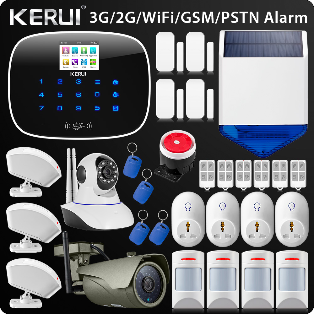 Latest W193 3G WIFI PSTN GSM SMS Home Burglar Wif Alarm LCD GSM SMS Touch Screen Alarm Panel Solar siren 2018 lastest w193 3g gsm wifi pstn sms home burglar lcd gsm sms touch screen alarm panel home security alarm system