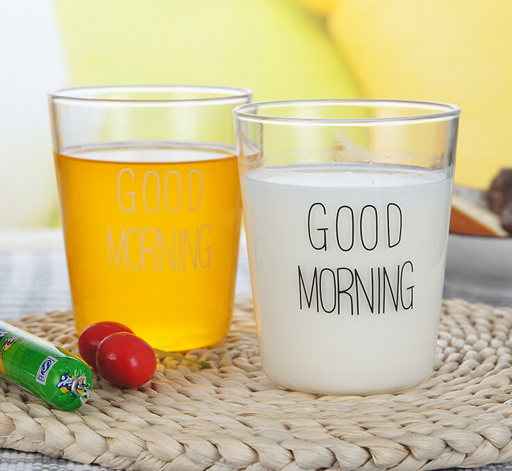 301-400ML Glass Milk Cup Good Morning Microwave Cup Juice Mugs Best Birthday Gifts For Couples 2017 Hot Sale