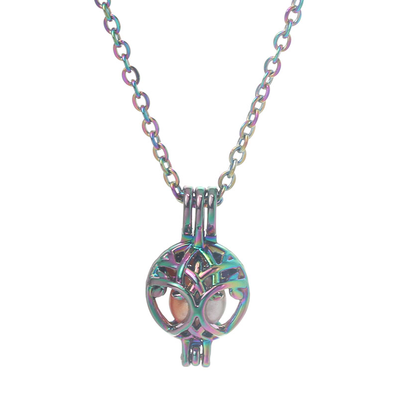 Rainbow Color Tree Of Life Pearl Cage Pendant Necklace Aromatherapy Essential Oil Diffuser Box