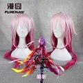 Guilty Crown Yuzuriha Inori Cos парик 65 см Градиент Розовый Средние Вьющиеся Волосы Аниме парик Cos 268C