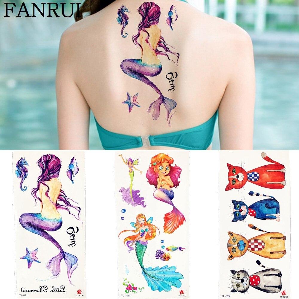 Cute Mermaid Starfish Temporary Tattoo Stickers Ocean Children Body Arm Art Painting Flash Tatoos Kid Gift Fake Tattoo Hand Legs