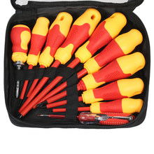 10pcs Insulated Screwdriver Set with Magnetic Slotted and Phillips Bits Soft Grips Electricians Electrical Work Repair Tools(China)