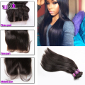 Cheap 7A Brazilian virgin hair with closure Silky Straight natural black Hair Bundles With Silk Lace Closure Middle/Free/3 way