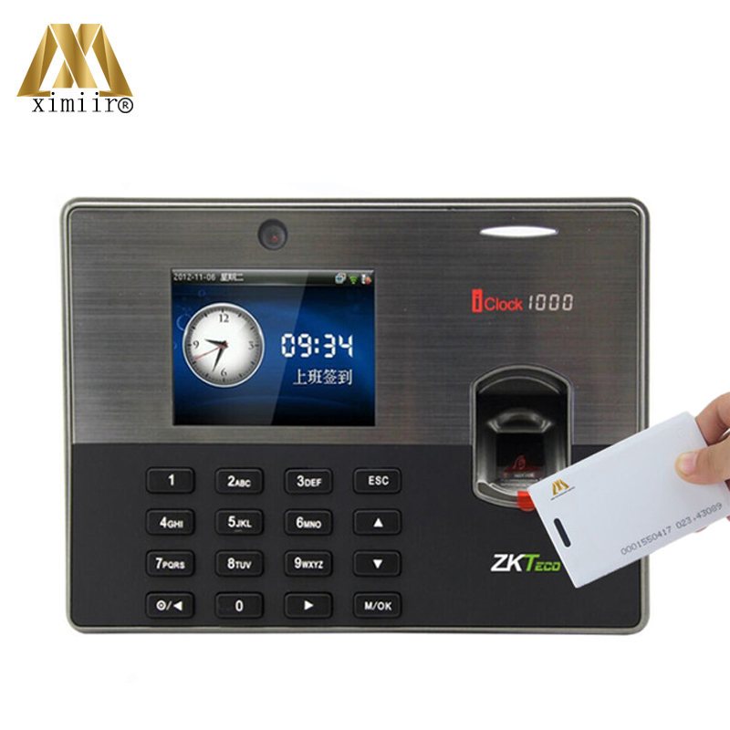 Free Shipping Iclock1000 Fingerprint Time Attendance ZK Card Time Recorder With 125KHz RFID Card Fingerprint Door Access Control