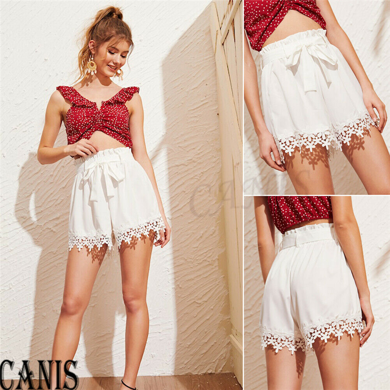 2019  New Fashion Women White Lace Patchwork Floral Bandage Shorts Casual Beach Mini Short Summer Clothes
