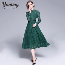 New Autumn Maxi Lace Dress Slim Fashion O-neck Sexy Hollow Out Work Casual Dresses Women A-line Vintage Vestidos(China)