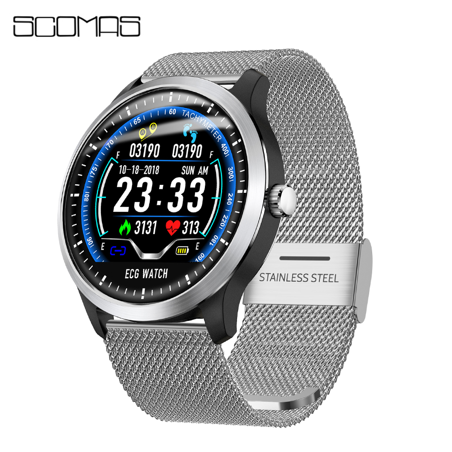 SCOMAS ECG PPG Smart Watch 1.22IPS Activity Fitness Tracker Heart Rate Monitor Blood Pressure Men Women Sport Smartwatch colmi v11 smart watch ip67 waterproof tempered glass activity fitness tracker heart rate monitor brim men women smartwatch