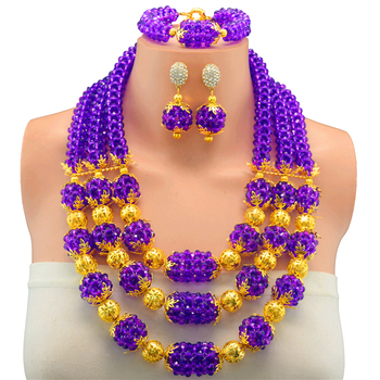 Elegant Purple Beads Indian Bridal Jewelry Sets Necklace Nigerian Wedding Necklace African Beads Bride Fashionable Jewelry Sets