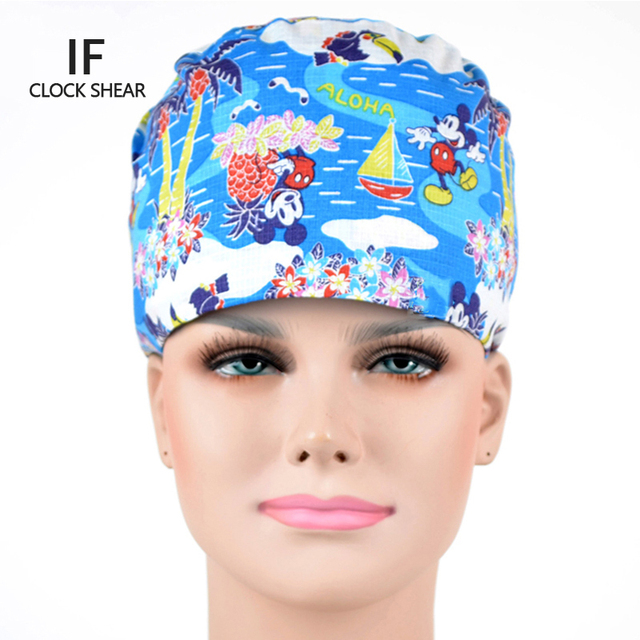 IF new Surgical caps for doctors and nurses 100% cotton Cap and short hair  with Sweatbands 3dd334c58711