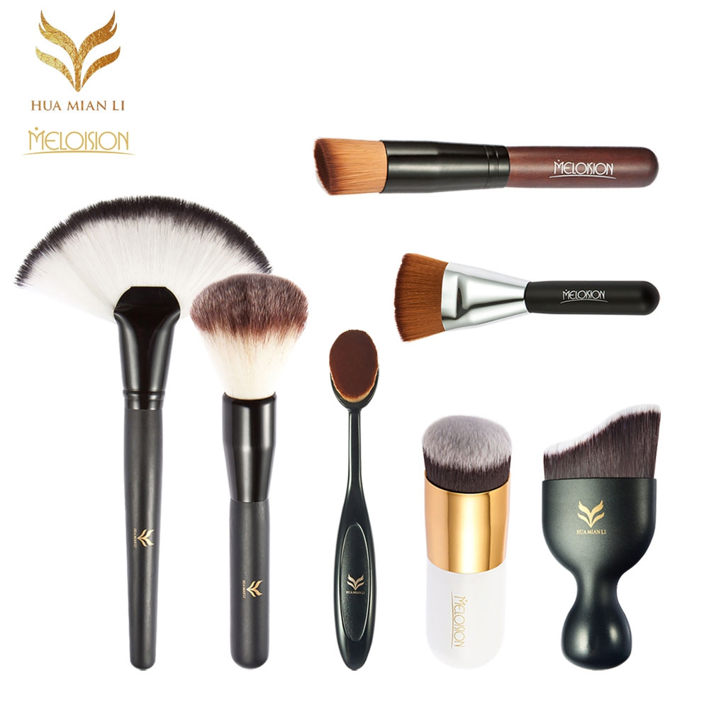 Huaminali Practical Basic 7 in 1 Facial Cosmetic Tool Set Facial Makeup Fundation Brushes Shadow Powder Puff Suits 2017 New bob cosmetic makeup powder w puff mirror ivory white 02