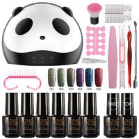 MIZHSE Glitter Nail Gel With Nail Accessoires Soak Off LED Nail Light Manicure Sets For Gel Varnish Top Coat Gel Nail Polish Kit