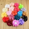 Free shipping , 100 pcs/lot , Gold polka dot chiffon flower , 3.15 inch fabric flower Ballerina ruffle flowers
