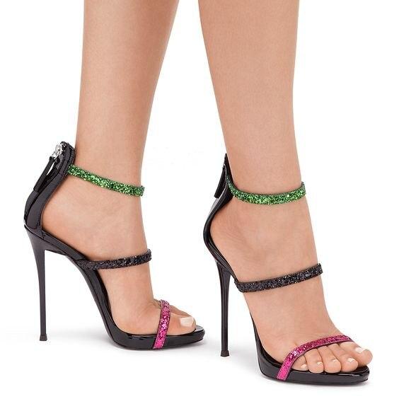 все цены на Sestito Hot Sale Ladies Bling Bling Muilti Glitter Stiletto High Heels Dress Shoes Woman Open Toe 3 Straps Gladiator Sandals