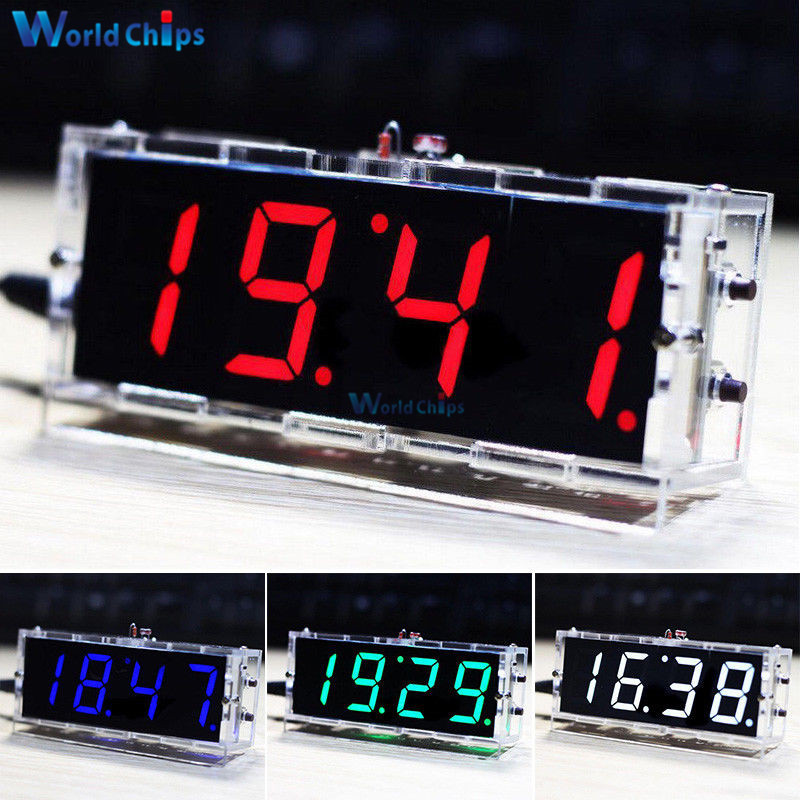 DIY KIT Electronic Clock LED Microcontroller Kit Digital Clock Time Light Control Temperature Thermometer Red/Blue/Green/White