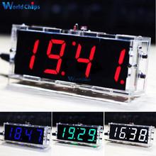 Zestaw DIY zegar elektroniczny zestaw mikrokontrolera LED zegar cyfrowy czas kontrola temperatury termometr czerwony niebieski zielony biały tanie tanio diymore Nowy Regulator napięcia Electronic Clock LED Microcontroller Kit Komputer standard 100TQFP