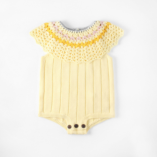 2018 summer autumn baby girl clothes girls hand made knitted bodysuit baby rompers girls clothing vestido baby clothes new born