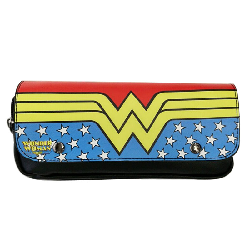 Fashion Designs Leather Pen Pencil Holder Bags Cartoon Anime Wonder Woman Super Girl Purse Gift Kids Lovely Cosmetic Bag pokemon go print purse anime cartoon pikachu wallet pocket monster johnny turtle ibrahimovic zero pen pencil bag leather wallets