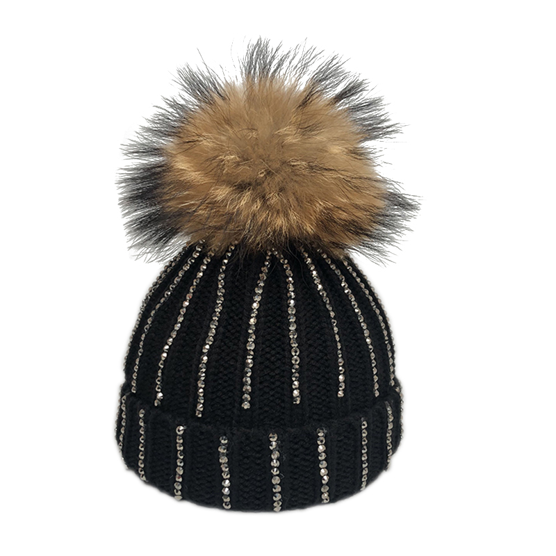 2019 Fashion Glitter Rhinestone Beanie Hat Kids Winter Knitted Caps Boys Girls Cotton Skullies Beanies Big Fur Pompom Hats(China)