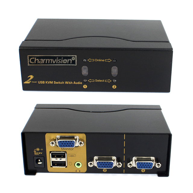 Charmvision VK201A 2 PC hosts Ports Auto USB KVM Audio Multi Computer Switcher with VGA 3.5mm Audio USB A type Keyboard Mouse