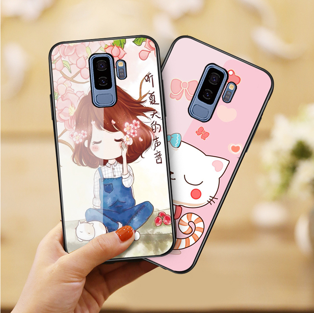 on sale 71e02 de131 US $2.52 40% OFF|S9 Tempered glass Case for Samsung Galaxy S9 Plus Cartoon  Girl Pink Shockproof Back Cover Hard Case Silicone Soft TPU Cases Capa-in  ...