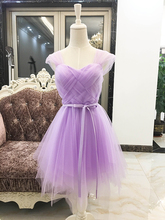 Purple Bridesmaids Dresses Elegant Sweetheart Ball Gown Mini Plus Size Party Dress Above The Knee Sexy Bridal Elastic Back