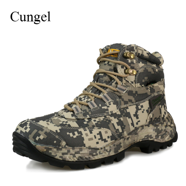 Cungel Winter/Autumn Outdoor Hiking Shoes Sneakers Men waterproof Nylon Military Boots Male Trekking Climbing Camouflage Shoes
