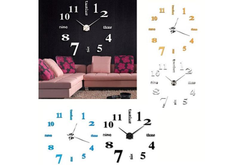 DIY Wall Clock 3D Mirror Acrylic Modern Surface Sticker Home Office Decoration