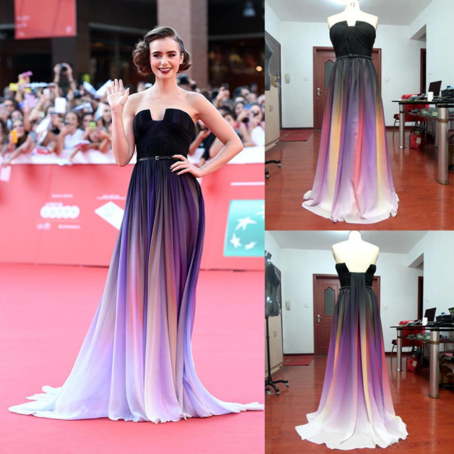 2015 Elie Saab Gradient Color Chiffon Evening Dresses Backless Ombre ...