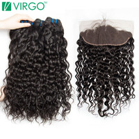 Brazilian Water Wave 3 Bundles With Frontal Closure 13x4 Ear To Ear Pre Plucked Human Hair