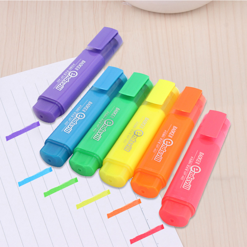 Highlighter MP-460 Water-based Pigment Single Head 6-Color Marker Pen Head Pen Note Pen