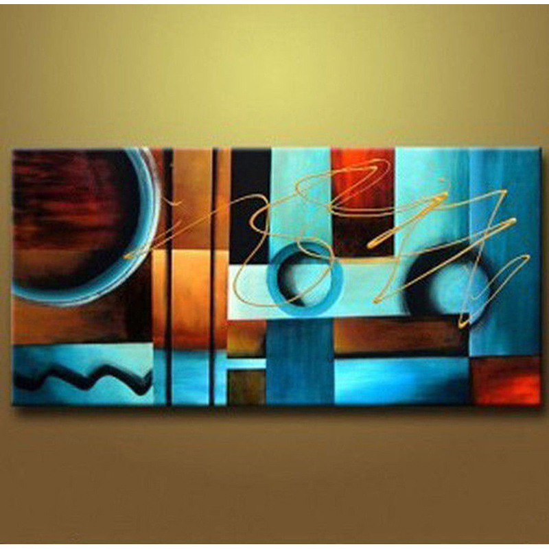 Blue And Brown Circles Modern Abstract Oil Painting Canvas Wall Art Free Shipping Decorative Artist For Home Office In Calligraphy From
