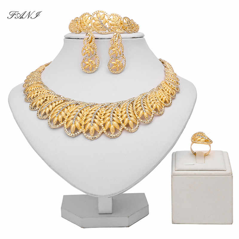 Fani Dubai gold Luxury Jewelry Sets Wholesale italian Bridal jewelry sets for women Fashion statement jewelry set Brand